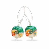Glass Lampwork Earrings | Sand and Sea | Julie Fountain
